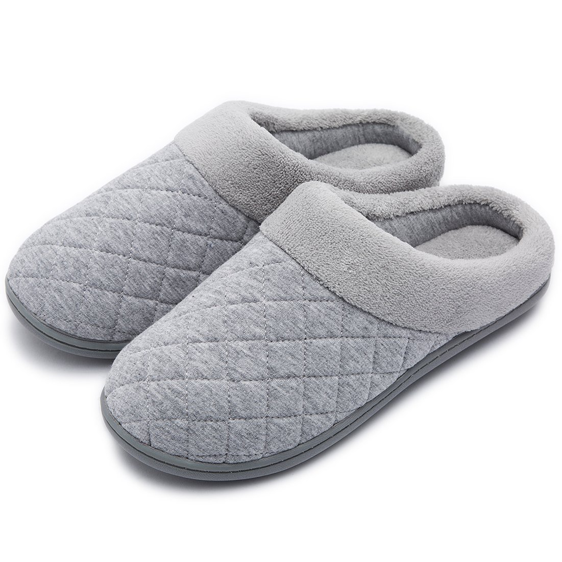 Women's Comfort Quilted Memory Foam Fleece Lining House Slippers Slip On Clog House Shoes (Medium / 7-8 B(M) US, Gray)