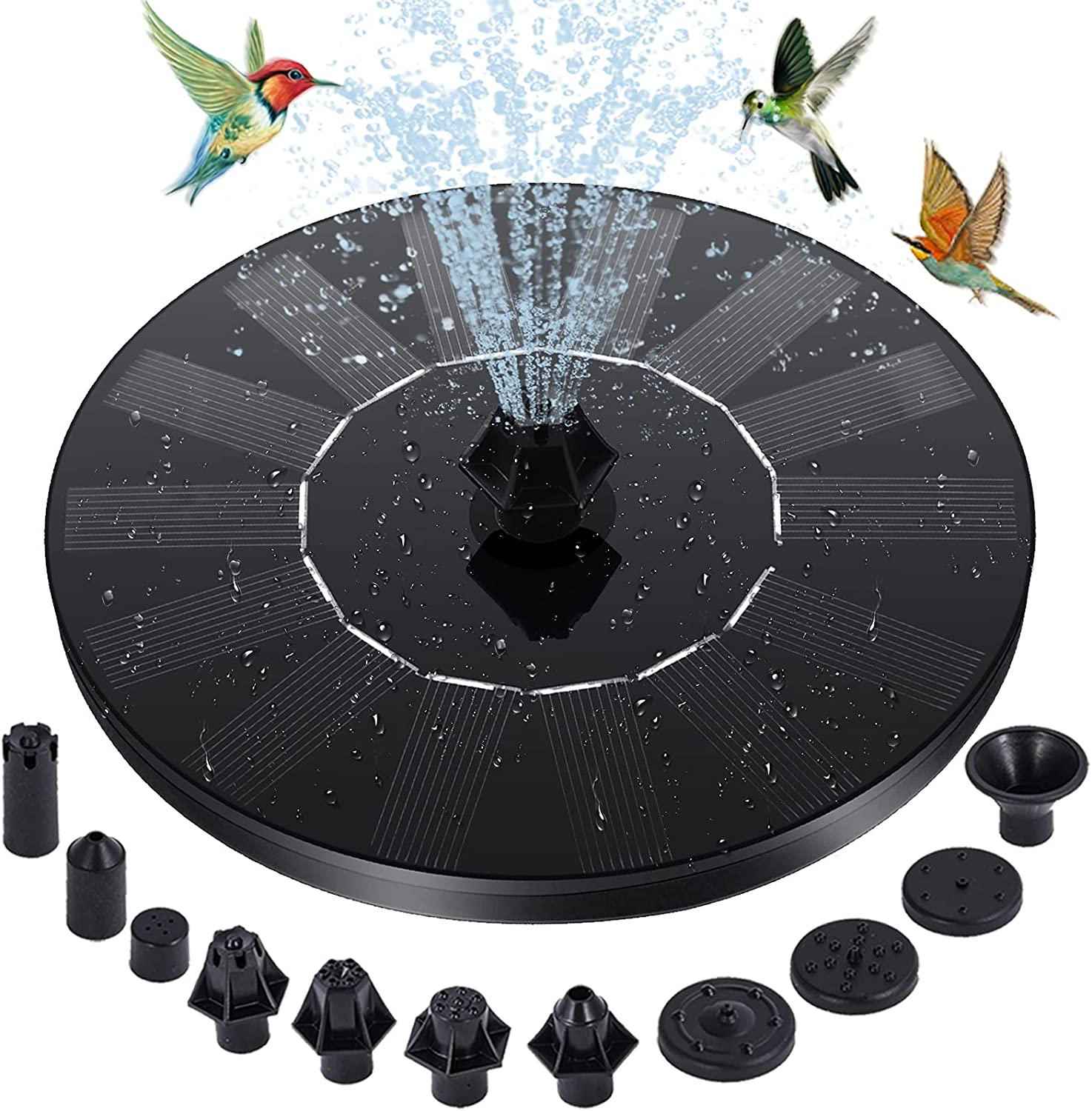 RIOFLY Solar Fountain - 1.4W Upgraded Solar Fountain Water Pump, Free Standing Floating Solar Powered Fountain Pump with 10 Nozzles, 4 Fixer, for Bird Bath, Pond, Pool, Outdoor, Garden