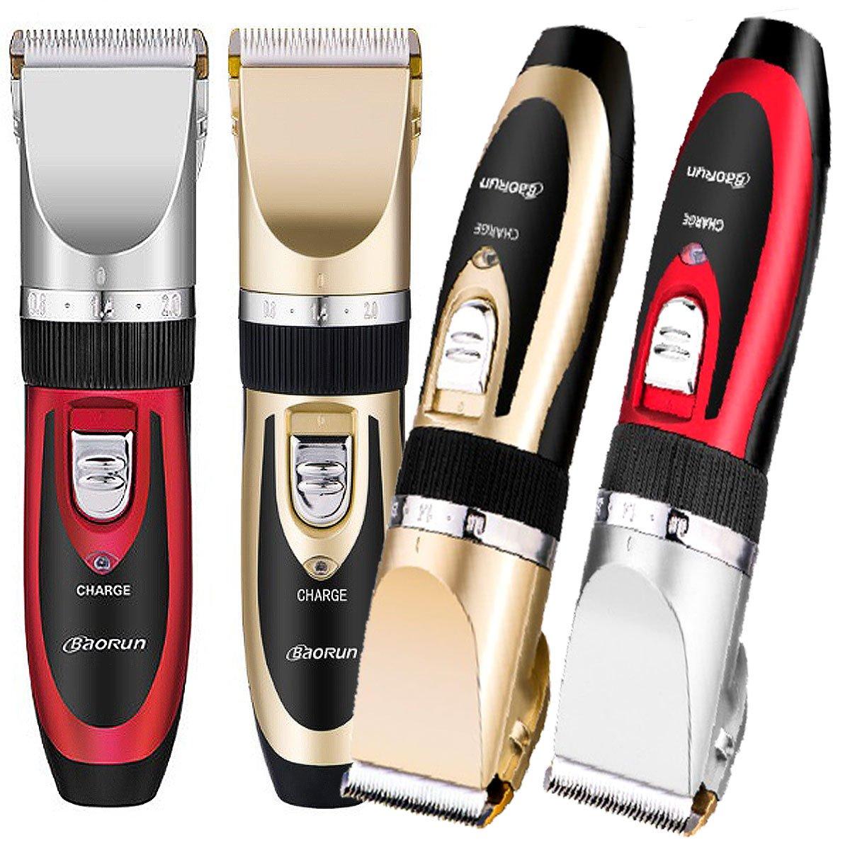 Elektrische Haarschneidemaschine kabellos Profi Haartrimmerset Bartschneider mit 4 Kämmen für Salon oder zu Hause gold