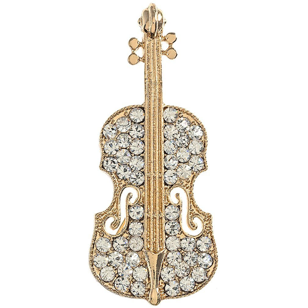 ACCESSORIESFOREVER Gorgeous Sparkle Classic Music Cello Violin Charm Brooch Pin BH223 Gold
