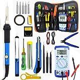 Soldering Iron Kit, 23-in-1 Soldering Kit 60W Adjustable Temperature Controlled Welding Tool, Digital Multimeter, 5pcs Iron Tips, Solder Sucker, Soldering Iron Stand, Solder Wire, Tweezer 110V