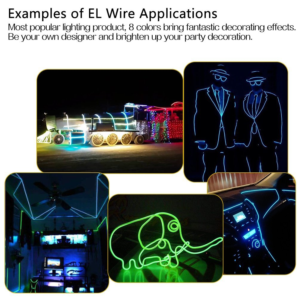 Portable Neon Glowing Strobing Electroluminescent Wire with Battery Pack 15ft, Pack of 8, Blue//White//Red//Green//Pink//Lemon Green//Yellow//Orange Zitrades EL Wire Neon Lights 15ft