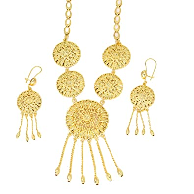 Amazon.com African Costume Jewelry Sets Gold Color Wedding Women Bridal Accessories Nigerian Flower Pattern Necklace Set (B) Jewelry  sc 1 st  Amazon.com & Amazon.com: African Costume Jewelry Sets Gold Color Wedding Women ...