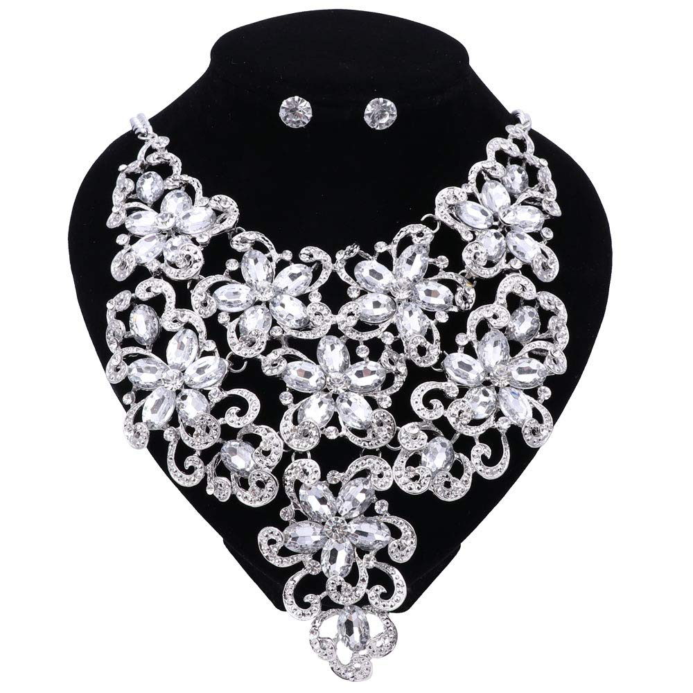 OUHE Luxury Multi-Color Crystal Wedding Jewelry Sets Party Costume Accessories Earring Necklace Sets for Brides Womens Gifts and Boxes
