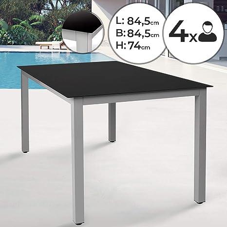 Aluminium Table de Jardin - 84,5x84,5x74 cm, pour 4 ...