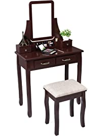 SONGMICS Vanity Set With Mirror 2 Large Sliding Drawers Makeup Dressing  Table With Stool 6 Removable
