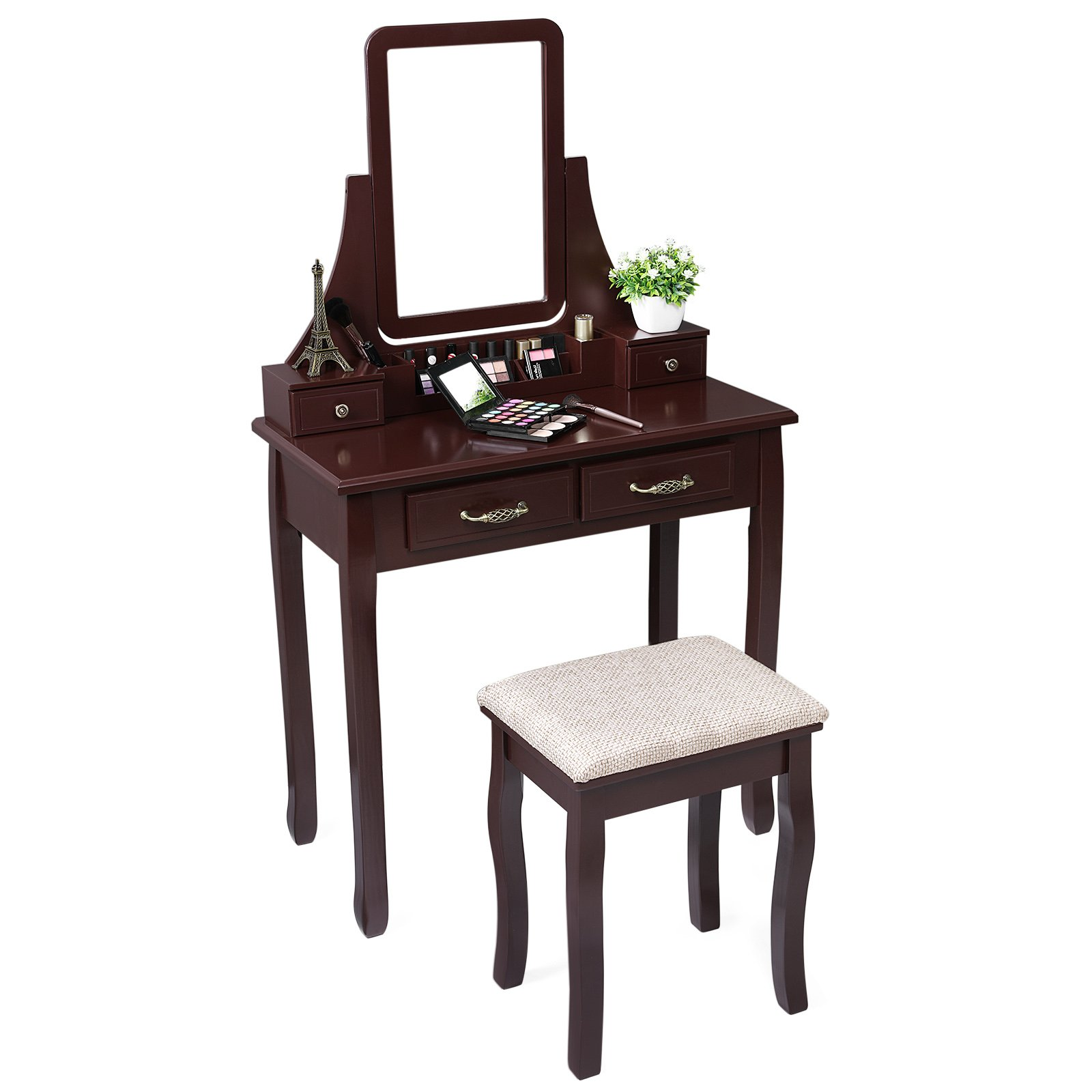 SONGMICS Vanity Set, 2 Large Sliding Drawers, Removable Makeup Organizer for Brushes Nail Polishes, Dressing Table with Mirror and Stool Brown URDT12K