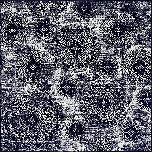 Navy Square - Unique Loom Sofia Collection Traditional Vintage Navy Blue Square Rug (8' x 8')