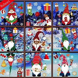 Kiddale 79 pcs Christmas Gnome Snowflake Window Cling Elf Scandinavian Tomte Xmas Window Decals Christmas Holiday Party Decorations for Home Office Shopping Mall