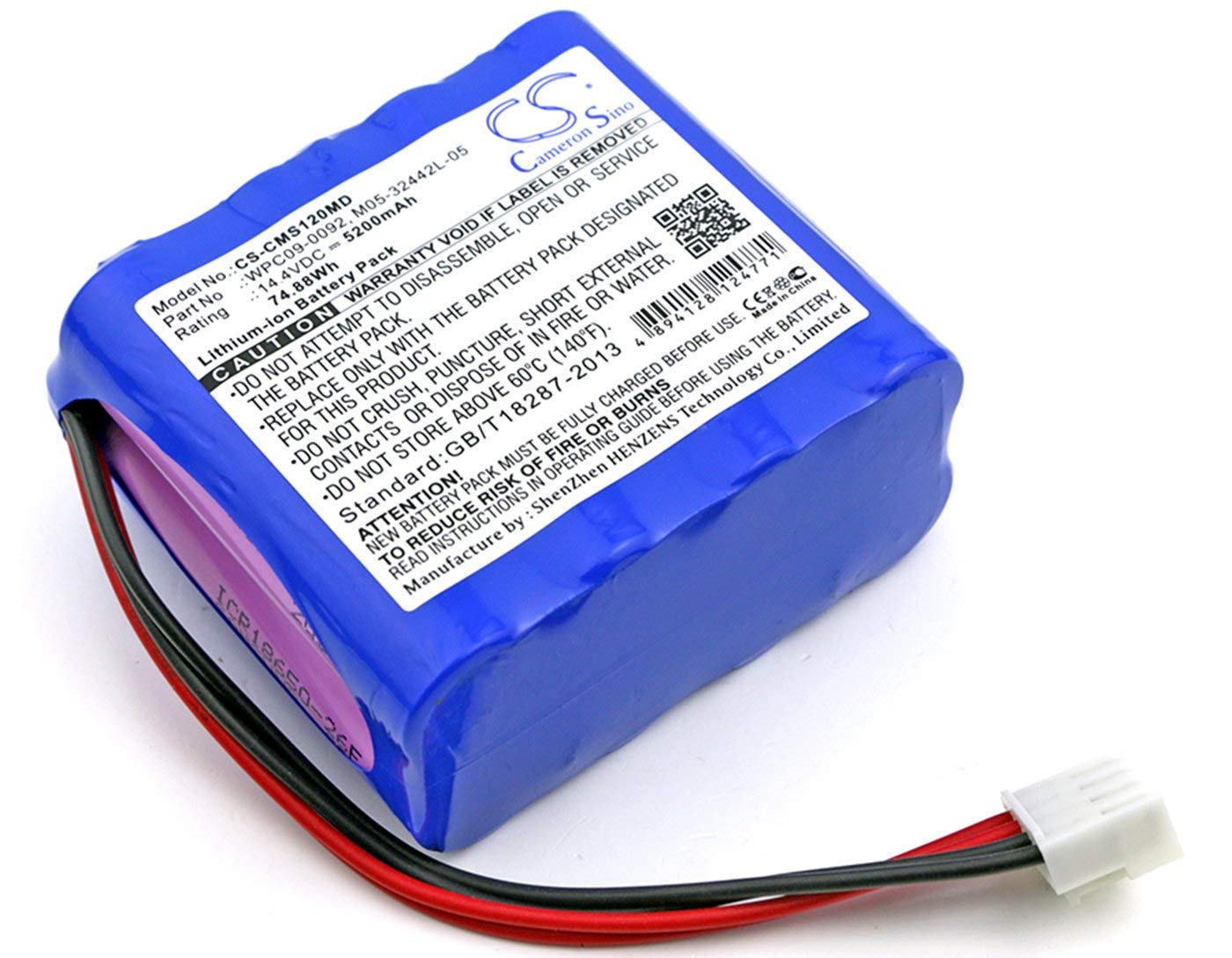 VINTRONS, CONTEC M05-32442L-05, WP-18650-14.4-4400, WP-18650-14.4-5200, WPC09-0092 Replacement Battery for CONTEC ECG 1201, ECG 1201G, ECG-1201, ECG-1201G,
