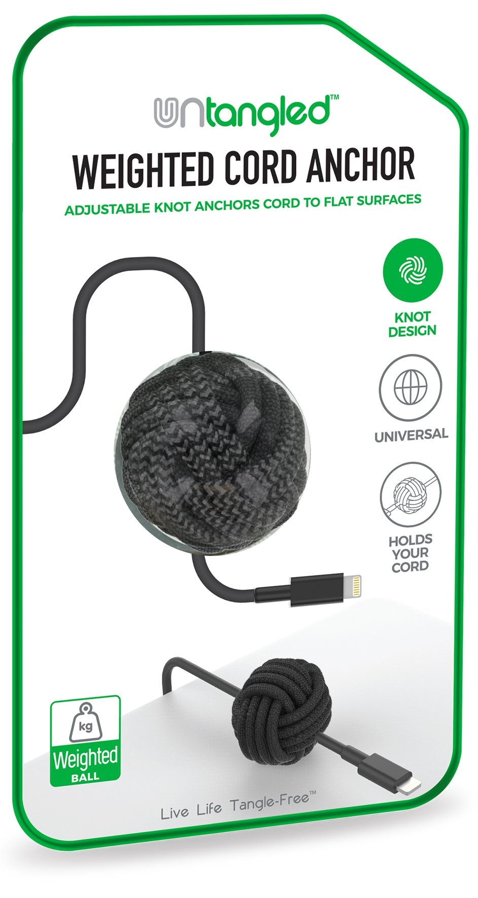Untangled Weighted Desktop Cord Anchor Holder Cable Organizer Wire Holder for Desk Wire Management Cable Cord Ball Adjustable Knot Anchor (Black)