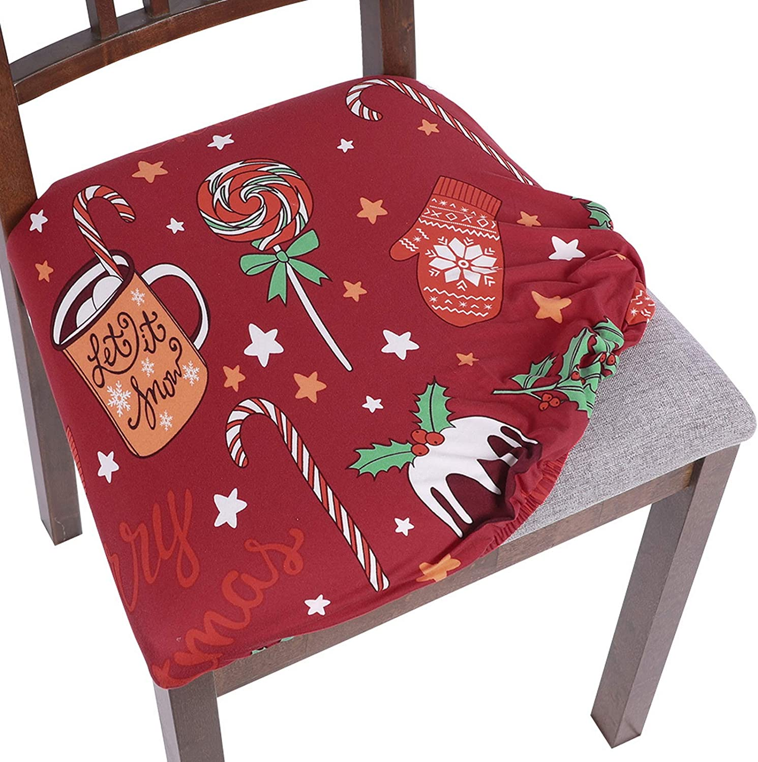 SearchI Christmas Chair Seat Covers, Stretch Jacquard Spandex Dining Room Chair Seat Covers, Removable Washable Anti-Dust Xmas Chair Seat Covers for Dining Room, Kitchen, Office (red-Candy, 4)