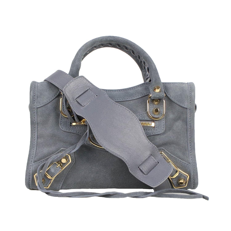 477fff520b34a Amazon.com  Balenciaga Blue Suede Leather Metallic Mini City AJ Shoulder Bag   Baby