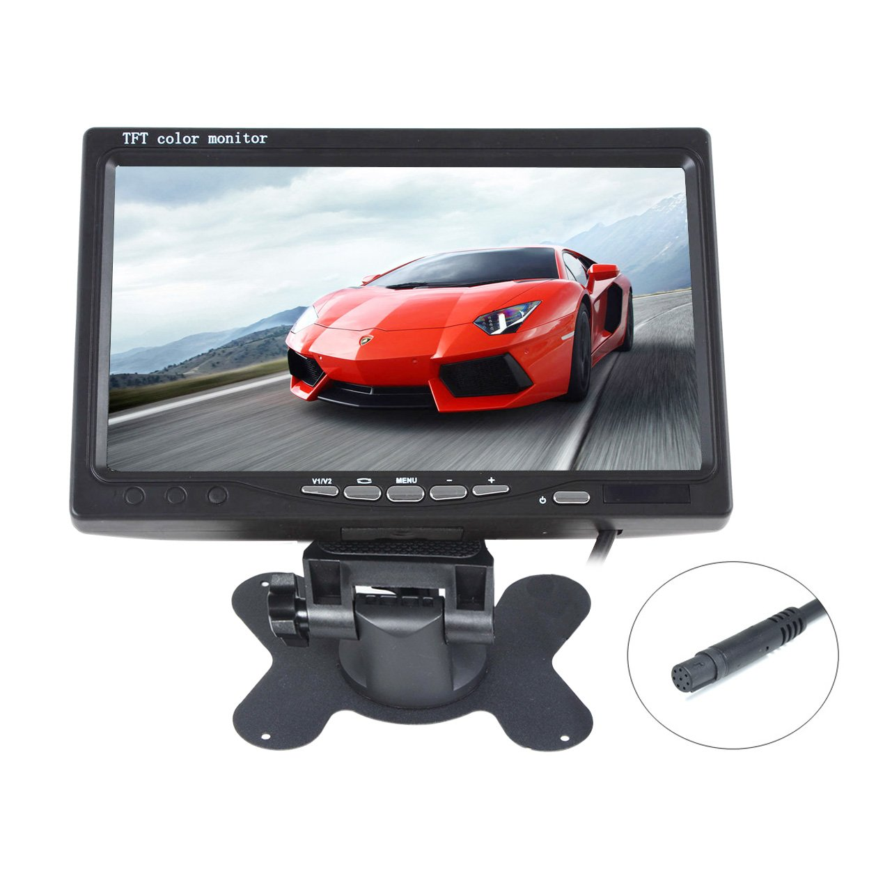 Kasionvi 7 Inch Tft-lcd Car Monitor 2 Video Input Car Rearview Headrest Monitor DVD VCR Monitor with Remote and Stand & Support Rotating the Screen 800*480rgb 8pin Connect