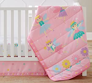 Wildkin 3 Piece Crib Bed-In-A-Bag, 100% Microfiber Crib Bedding Set, Includes Comforter, Fitted Sheet, and Crib Skirt, Coordinates with Other Room Décor, Olive Kids Design – Fairy Princess