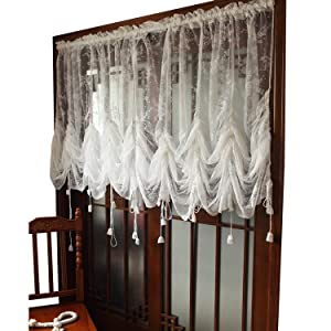 FADFAY Elegant White Lace Embroidered Sheer Ballon Curtains, Adjustable Tie-Up Curtain, 1 Panel Floral Tulle Curtains for Windows-78''90''