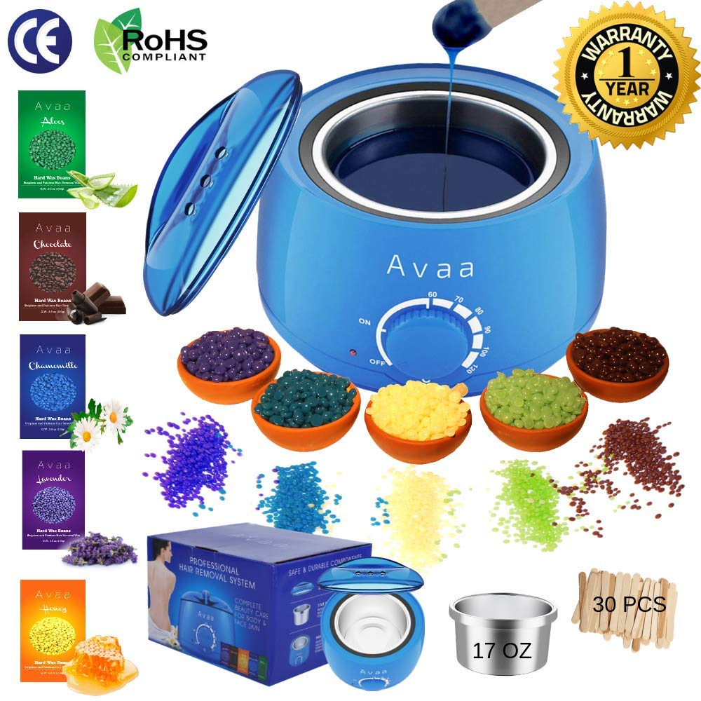 AVAA Wax Heater Hard Beads Warmer Hot Waxing Kit Professional Painless Stripless Hair Removal with 5 Natural Beans Pearls Flavours Electric Pot for Full Body Facial Depilatory and 30 Sticks