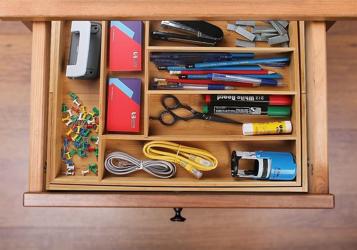 Utopia Kitchen Expandable Drawer Organizer, Adjustable Kitchen Drawer Organizer, Bamboo Drawer Dividers Organizer for Kitchen, Silverware, Flatware, Living Room, Makeup Drawer & Utensil Holder -