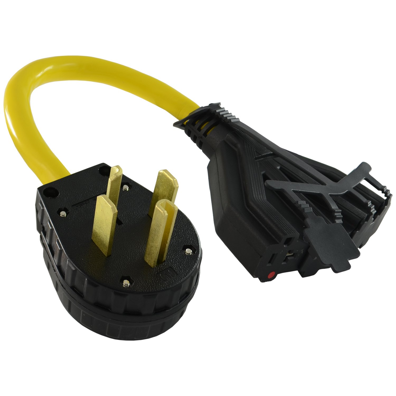 Conntek P1430611 NEMA 14-30P 30-Amp 4-Prong Dry Plug to U.S. 15/20-Amp Female Connectors