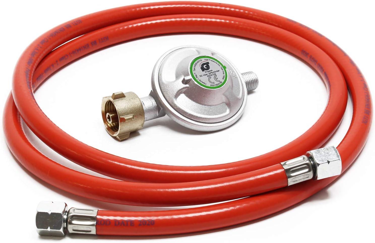 WilTec Manguera de Gas 1.5my regulador de presión 50mbar Accesorios bombonas Gas Hornillo Camping Alemania