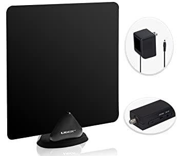 HDTV Antenna and Amplifier, Liger 50 Mile Range Ultra-Thin Indoor Antenna and Antenna