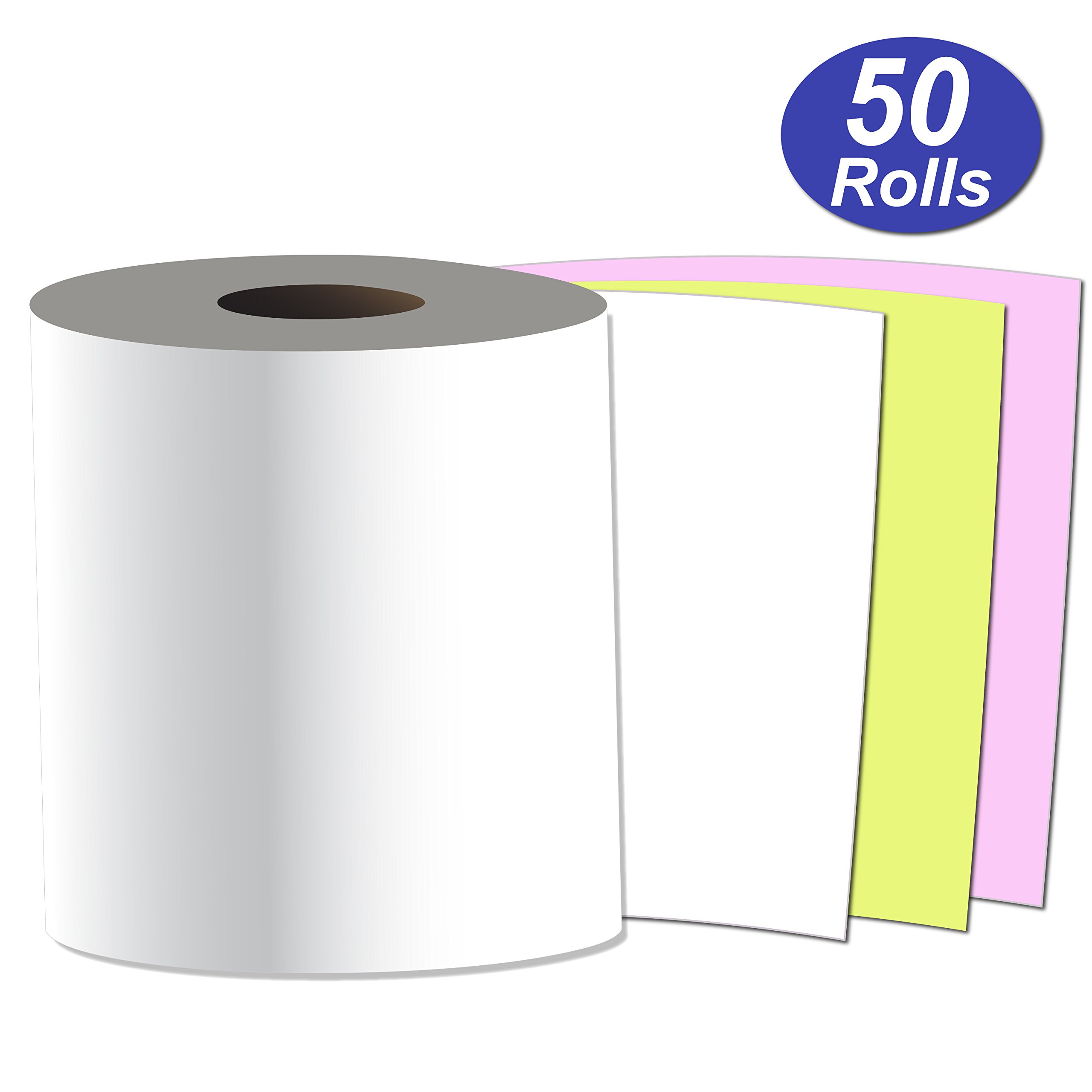 Alliance, Receipt Rolls, Paper, 3'' x 65' x 7/16'' Core, 3 Ply White/Canary/Pink, 50 Rolls Per Carton