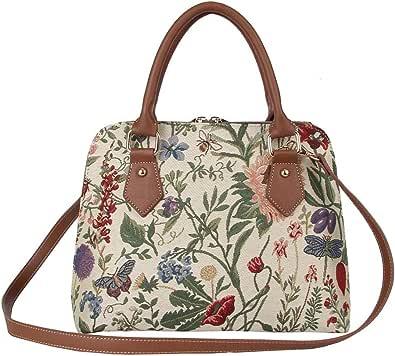 Ladies Tapestry Top Handle Handbag Shoulder Bag with Garden Flower by Signare