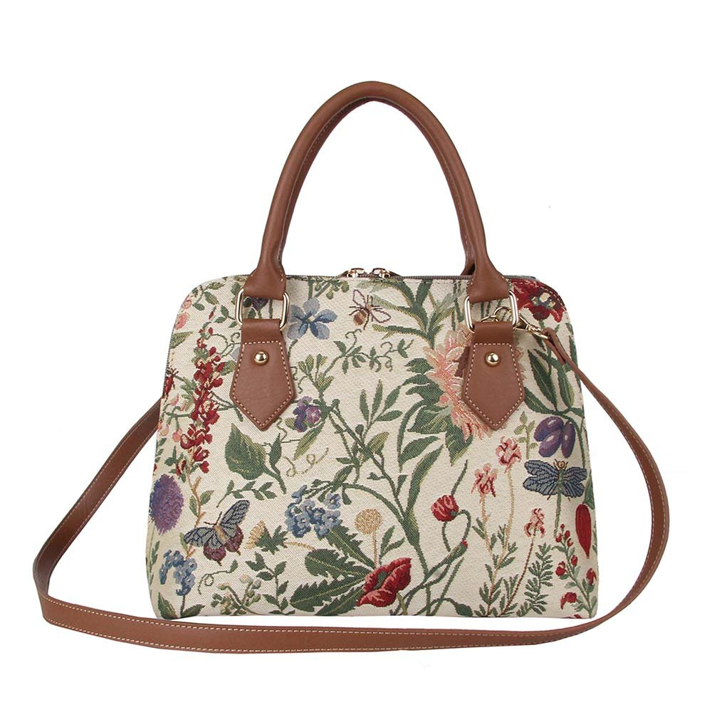 Signare Ladies Garden Flower Tapestry Top Handle Handbag with Detachable Strap to Convert to Shoulder Bag by with Sunflower Poppy Butterfly Dragonfly (Conv-MGD)