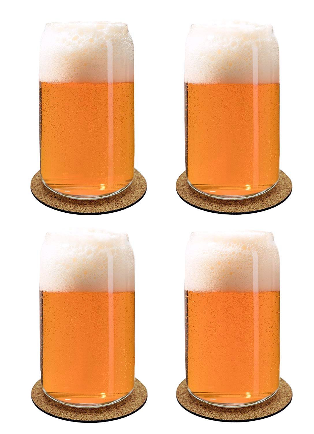 Ecodesign Drinkware Libbey Beer Glass Can Shaped 16 oz - Pint Beer Glasses 4 PACK w/coasters by Ecodesign Drinkware (Image #2)