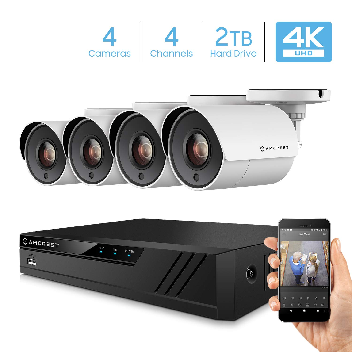 Amcrest 4K Security Camera System 4CH 8MP Video DVR with 4X 4K 8-Megapixel Indoor Outdoor Weatherproof IP67 Cameras, 2TB Hard Drive, 100ft Night Vision, for Home Business AMDV80M4-4B-W