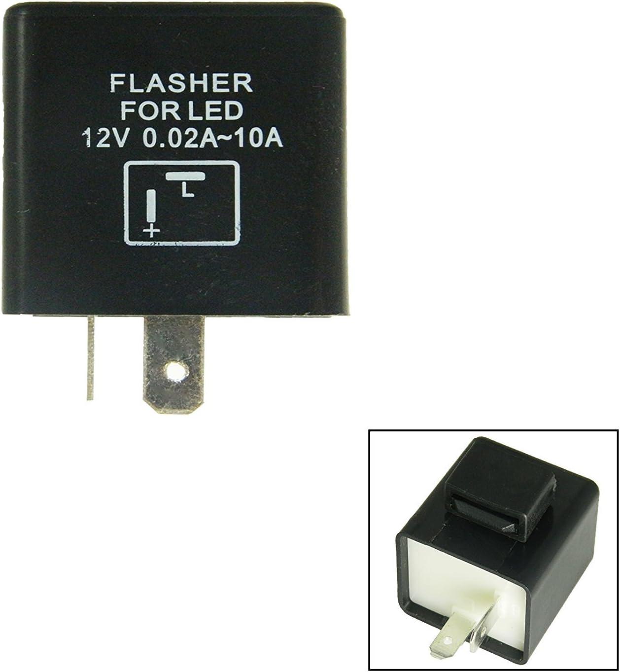 Amazon Com 2 Pin Flashing Electronic Led Flasher Assy Relay Fix For Led Turn Signal Light Bulbs Automotive