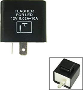 2-Pin Flashing Electronic LED Flasher Assy Relay Fix For LED Turn Signal Light Bulbs