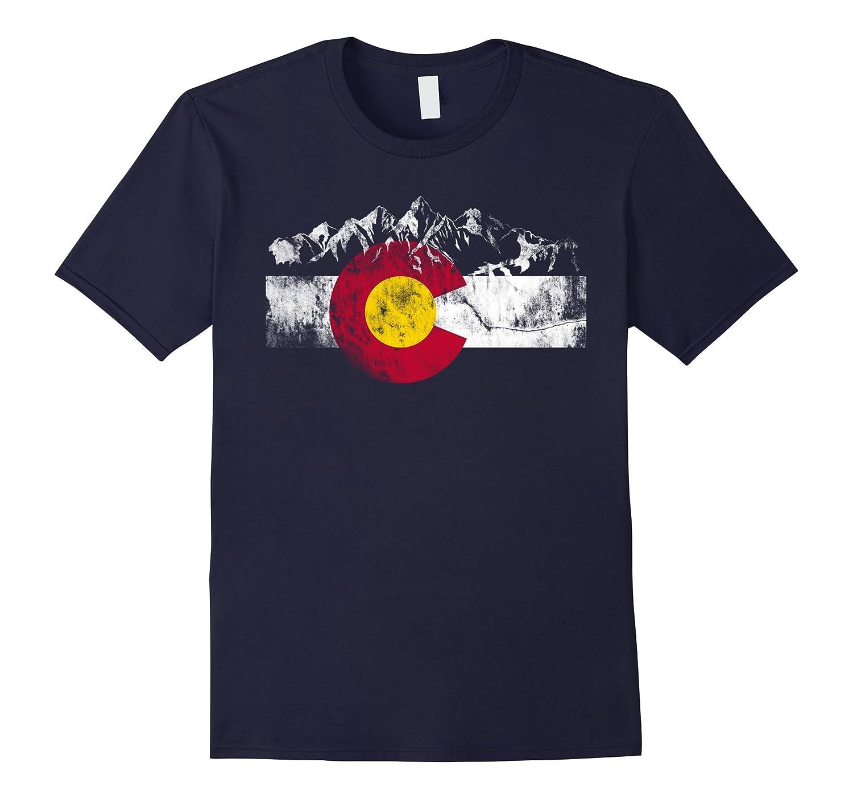 Colorado Flag Moutain Vintage T Shirt - Colorado Day Shirts-TD