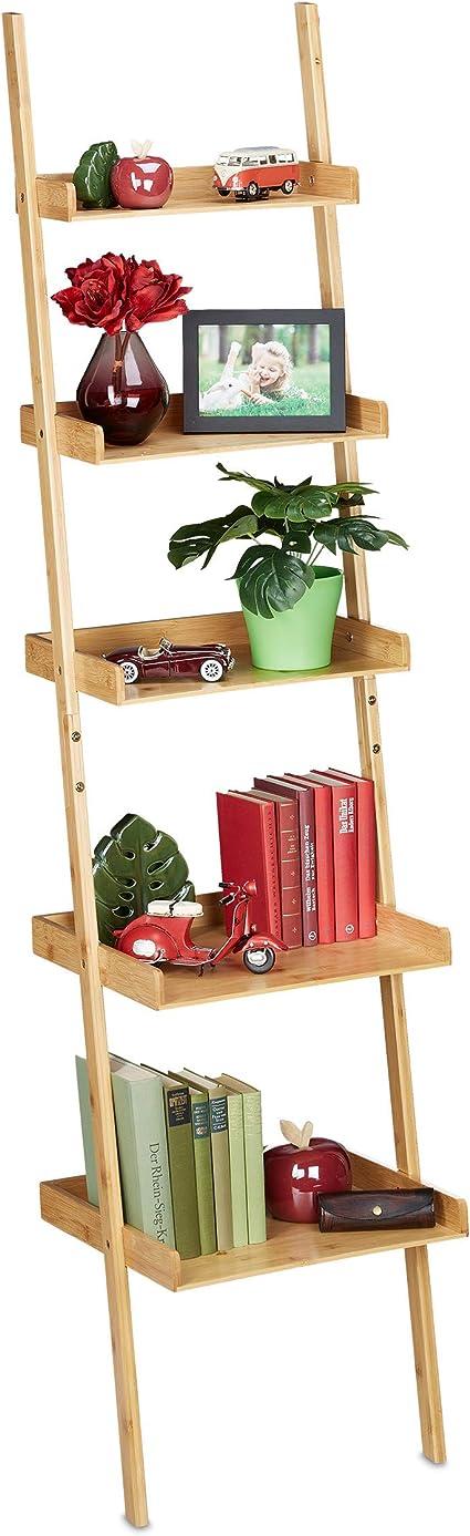 Relaxdays Estantería de bambú con 5 Niveles, para baño, Cocina, salón, para apoyar, 190 x 45 x 40 cm, Color Natural, 1 Unidad