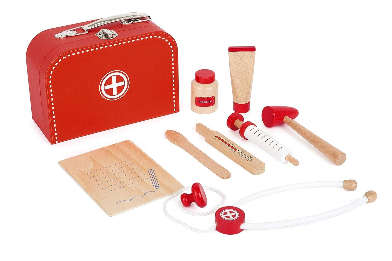 Small Foot 11183 Arztkoffer Spielset mit hochwertigem Inhalt, 100% FSC-Zertifiziert, Stabile Geräte aus Holz Spielzeug, Mehrfarbig Small Foot by Legler