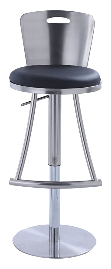 Bon Chintaly Imports 0406 Metal Back Adjustable Height Stool, Black Faux Leather