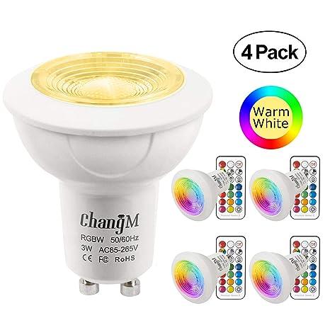 Bombillas LED Foco GU10 Blanco Calido RGBW 3W Colores Lámparas Bombillas regulable por 21 llaves Remote Control RGB + Blanco cálido 2700K 200LM ...