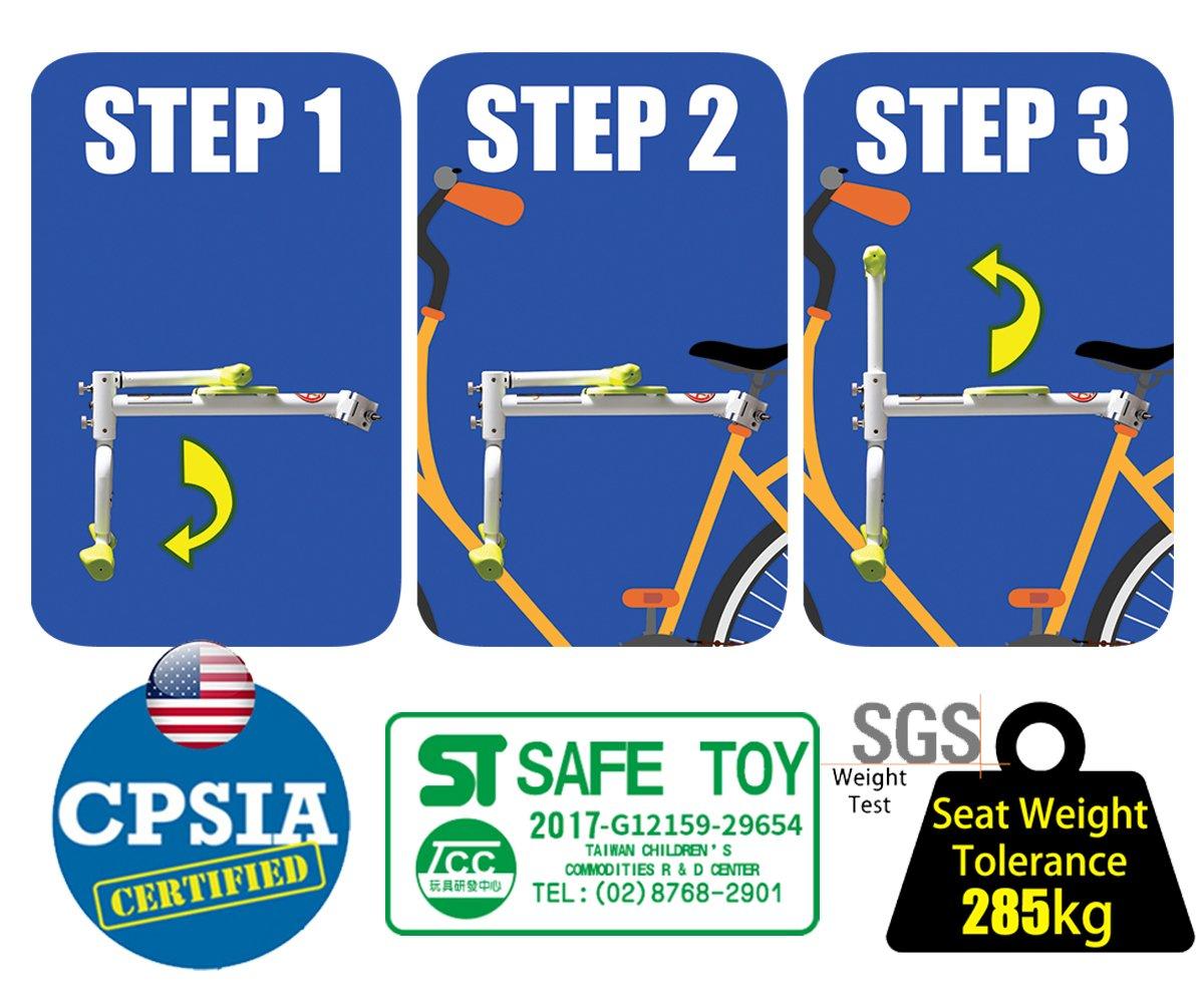 PaPaSeat Portable Light Weight Fast Install Child Bike Seat, Works with All City Bikes (USA, Canada, Paris, Milan, Warsaw, Tokyo, Taipei…) by PaPaSeat (Image #3)