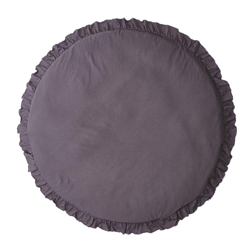 Round Kids Rug Carpet Mushroom Runner Toys Storage Organizer Nursery Rugs Large Cotton Animal Baby Floor (Dark Gray)