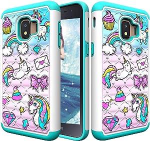 StarCity Samsung Galaxy J2 Core (2018) Case, [Drop Protection] Hybrid Armor Protective Case for Samsung Galaxy J2 Core SM-J260M (Cute Unicorn)