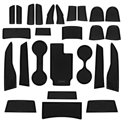SENSHINE Cup Liner Door Mat for for Chevy Colorado and GMC Canyon 2020 2020 2020 2020 2016 2015 Center Console Liner Insert Accessories Kit Custom Fit(Black Trim, Crew Cab): Automotive