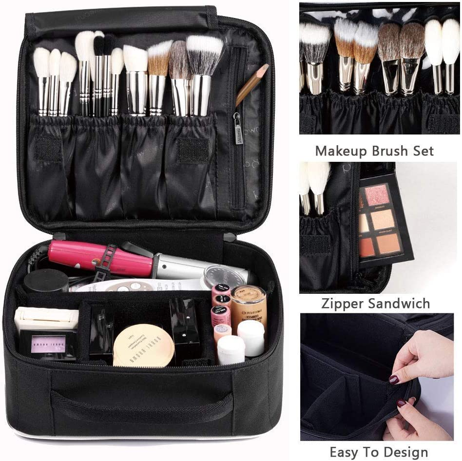 ROWNYEON Portable Travel makeup bag Makeup Case Mini Makeup Train Case 9.8 (White edge): Amazon.es: Equipaje