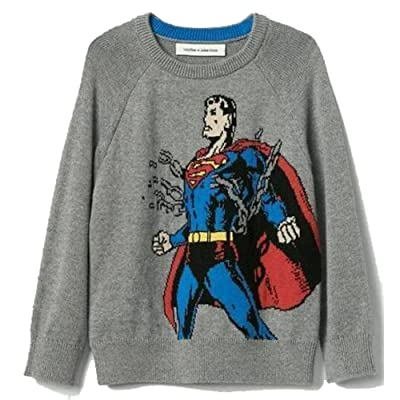 Baby Gap Boys Gray Superman Intarsia Crew Sweater 4 Years