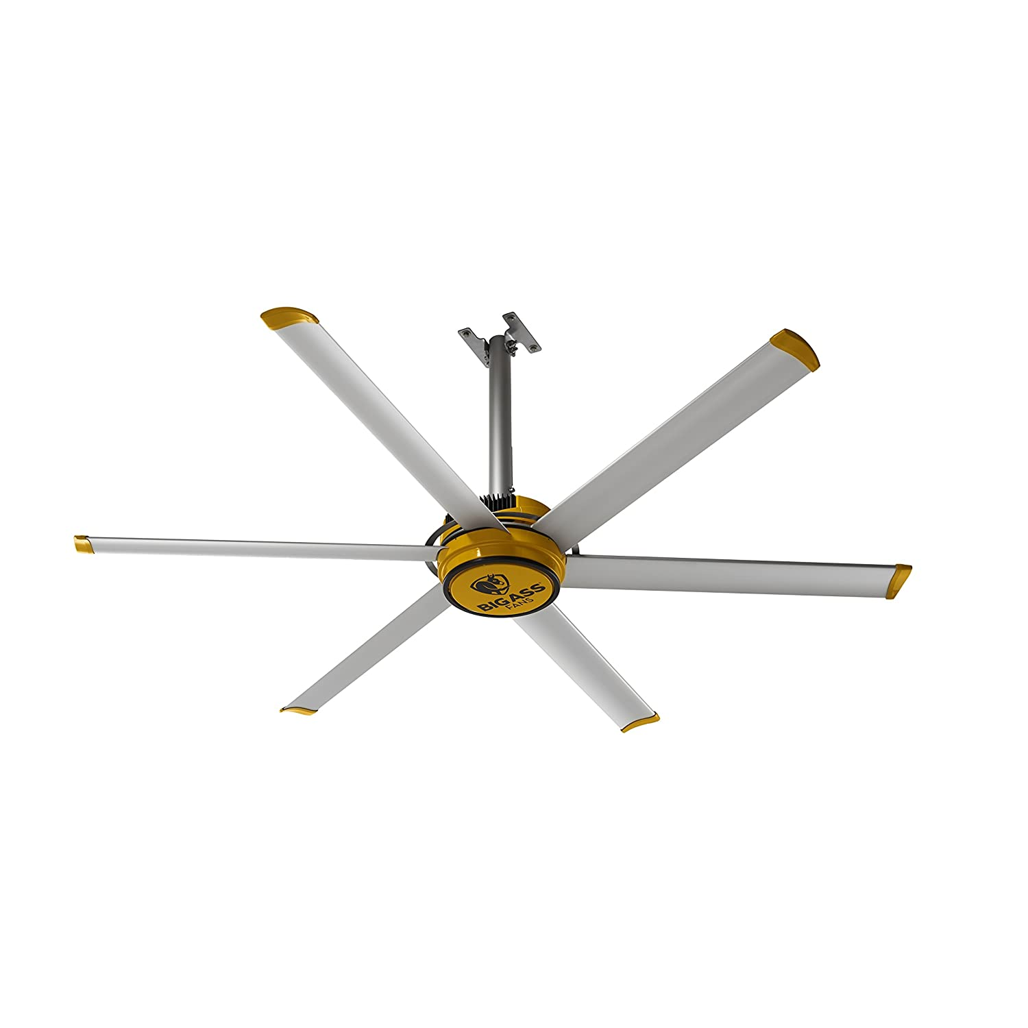 Big Ass Fans 2025 Silver and Yellow Shop Ceiling Fan, 7-ft