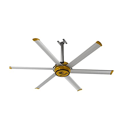Big Ass Fans 2025 Silver and Yellow Shop Ceiling Fan, 7-ft,