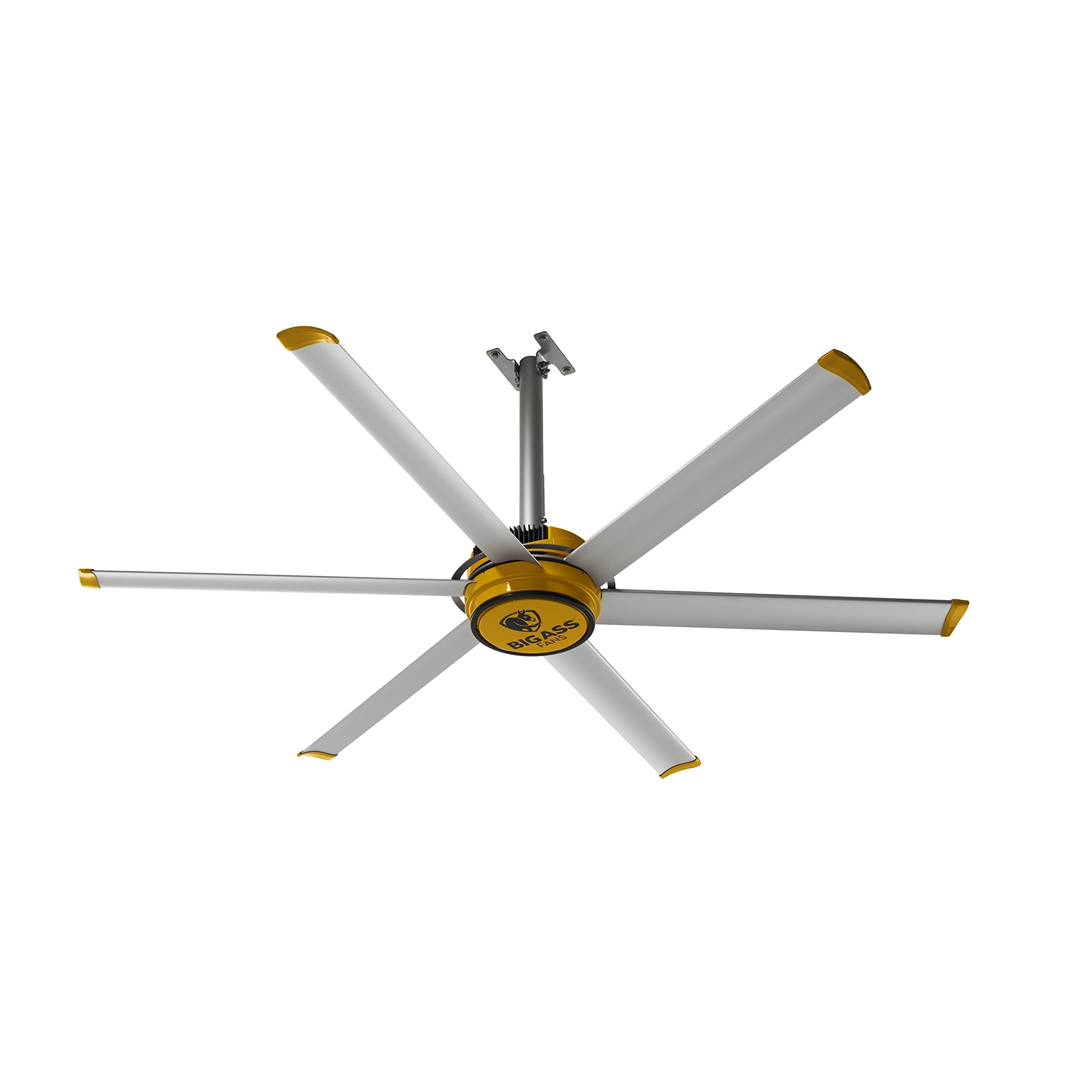 CDM product Big Ass Fans 2025 Silver and Yellow Shop Ceiling Fan, 7-ft, big image