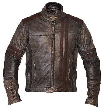 Mens Biker Vintage Motorcycle Cafe Race Style Distressed Leather Jacket