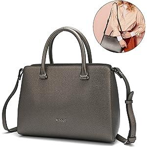 d43201a98e9d Kadell Women Soft Top Handle Satchel Handbags Shoulder Bag Tote Purse  Messenger Bags Nickel Black