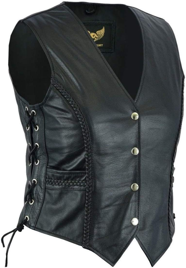 3XL 18 Leatherick Signore Intrecciato in Pelle Stile Biker Gilet