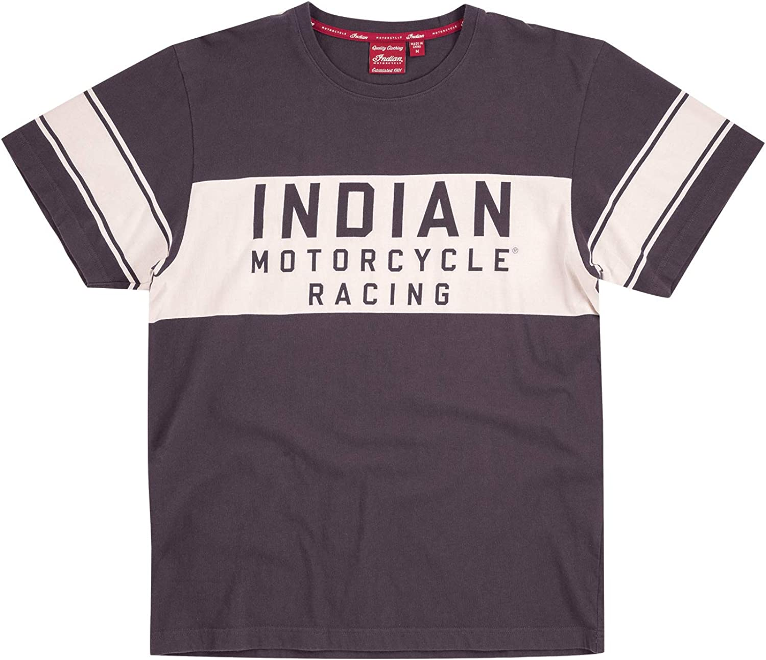 Indian Motorcycle Mens Wrecking Crew T-Shirt with Stripe Gray